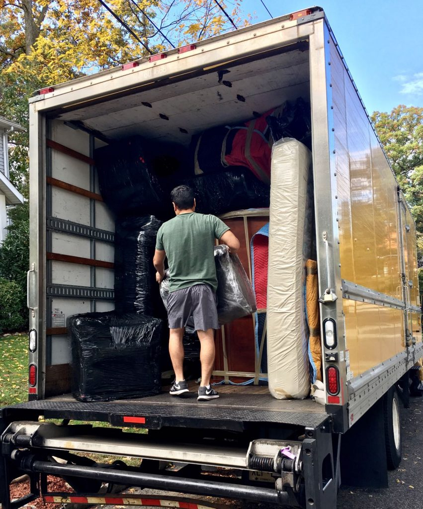 One of our local movers NJ, loading the truck.