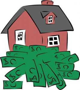 Drawing of a house with cash in front of it.