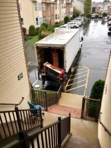 Movers loading a truck in one of the many Jersey City neighborhoods.