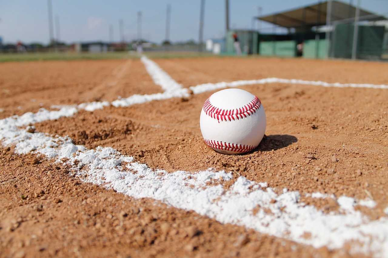 A baseball on a baseball field