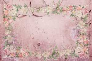 painting - small pnk and white flowers on a pink background