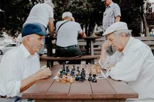 Two persons playing chess in a park