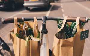Paper bags on a bycicle