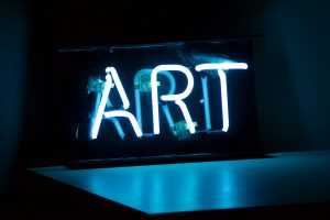 """""""ART"""" written in neon lights"""