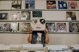 A person in a record store