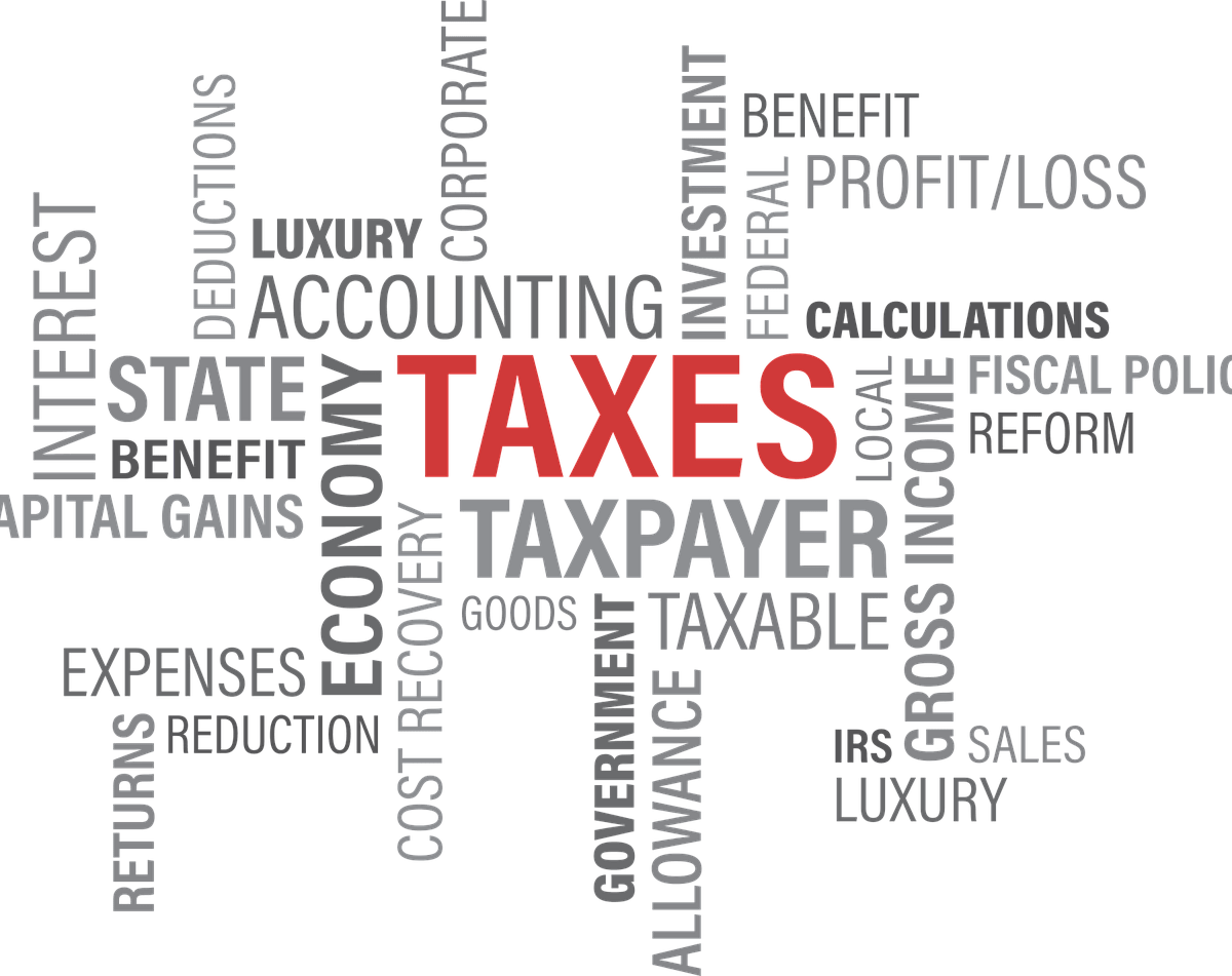 """The word """"TAXES"""" written in red and many other related expressions written in gray on a white background"""