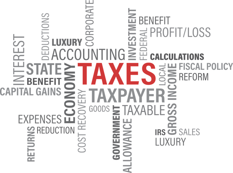 "The word ""TAXES"" written in red and many other related expressions written in gray on a white background"