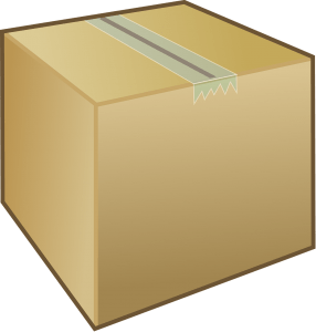 A cardboard box sealed with tape