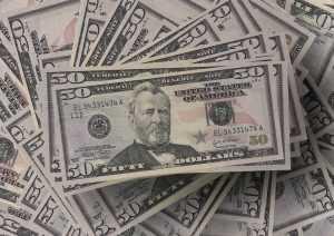A pile of $50 dollars bills
