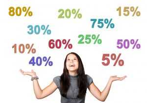A woman with percentage signs