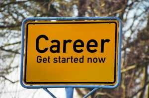 "A road sign with the words ""Career Get started now"" - an invitation to explore Job opportunities in Bloomfield, NJ"