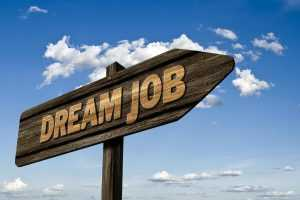 "A wooden ""dream job"" sign"